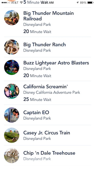 Disneyland app list