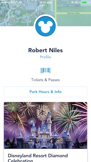 Disneyland app personal page