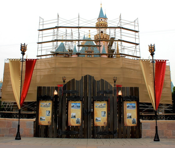 Sleeping Beauty castle under wraps