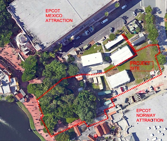 Site for the new Frozen meet and greet building at Epcot