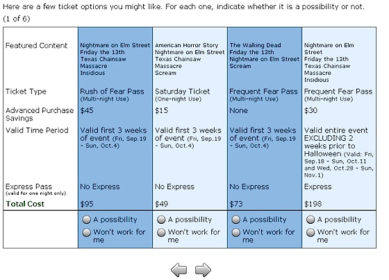 Halloween Horror Nights ticket survey, screen 4