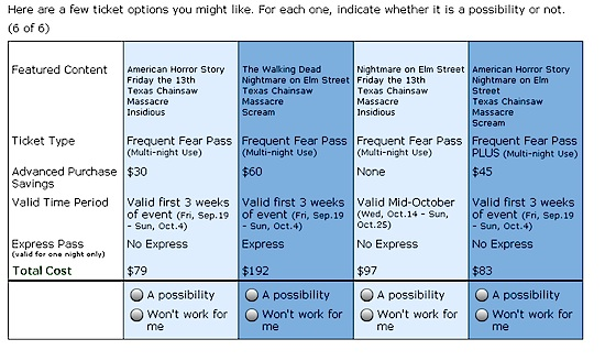 Halloween Horror Nights ticket survey, screen 5