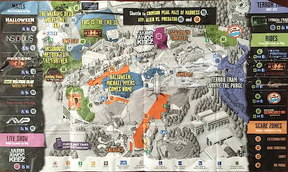 Halloween Horror Nights map