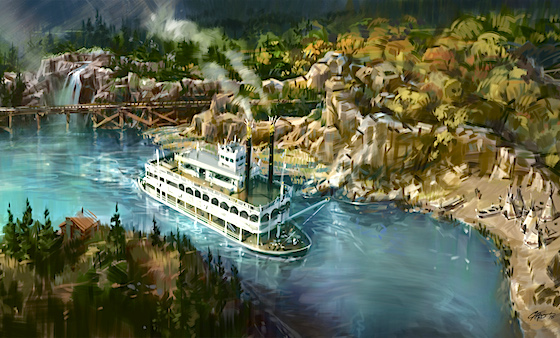 Disney concept art for the new Rivers of America