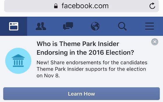 Who is Theme Park Insider endorsing in the 2016 election?