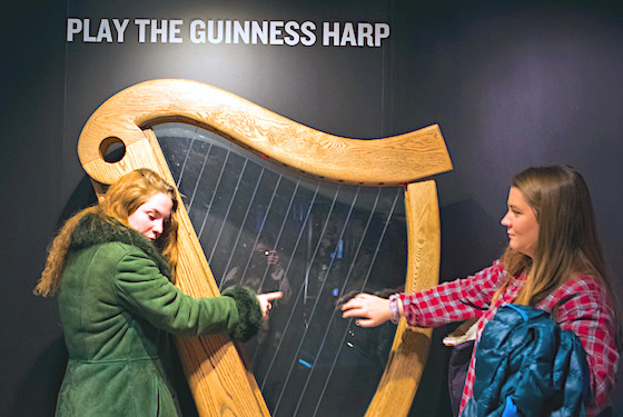 Playing the Guinness harp