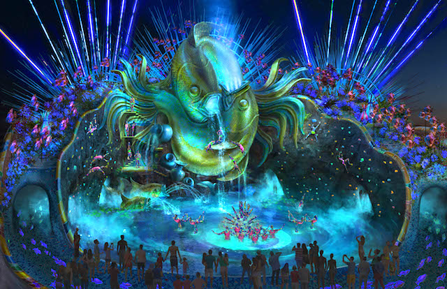 Nighttime water stage
