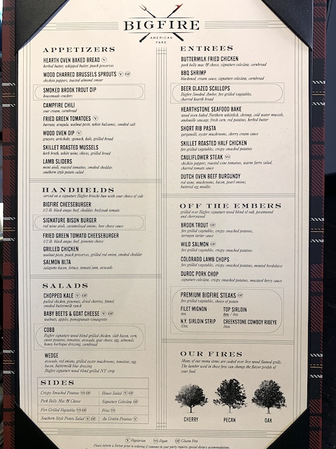 Bigfire menu