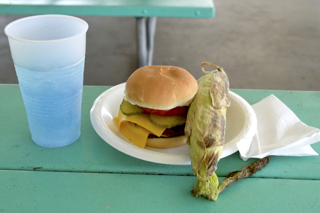 Burger and corn