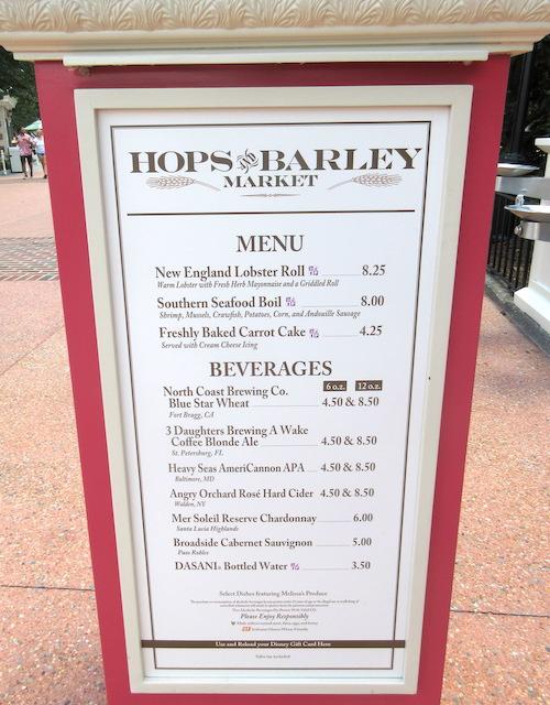 Hops & Barley menu