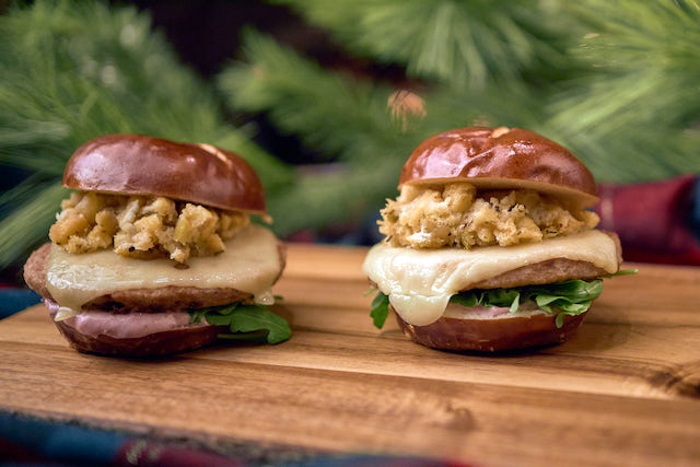 Vixen's Turkey Burger with Cheese, Cranberry Mayo, and Stuffing on a Pretzel Bun