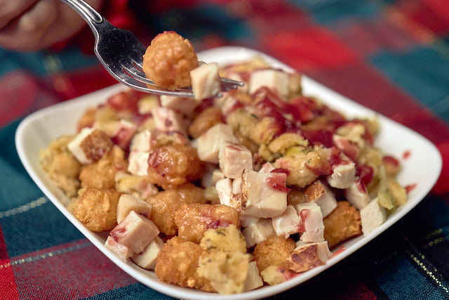 Turkey Dinner Tater Tots, Turkey, Stuffing, Gravy, and Cranberry