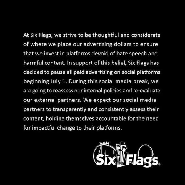 Six Flags social media statement