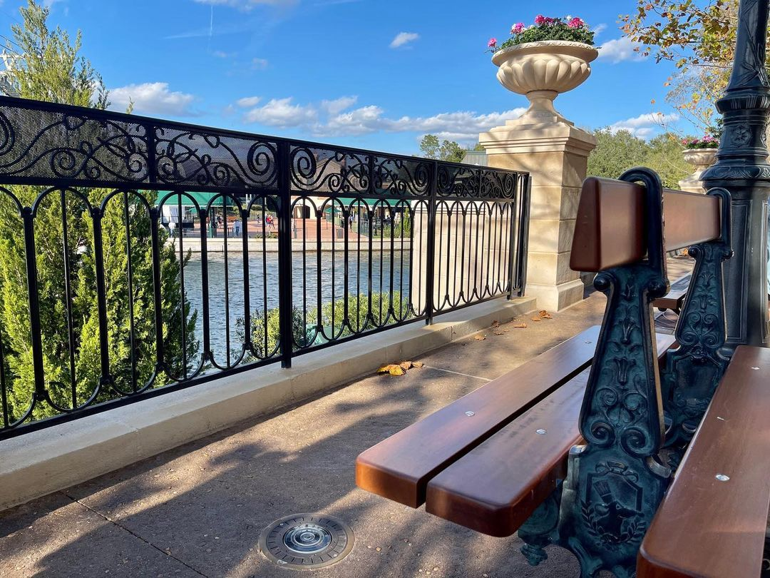 Bench and railings