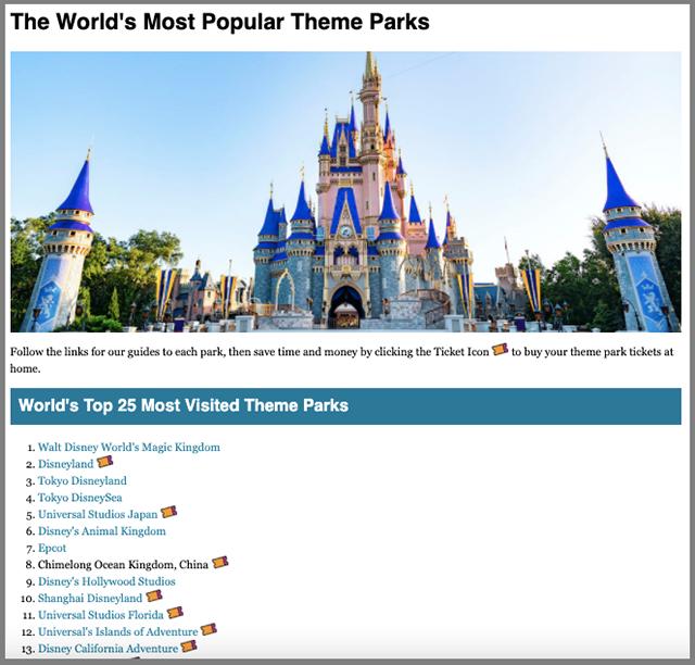 Theme park guides