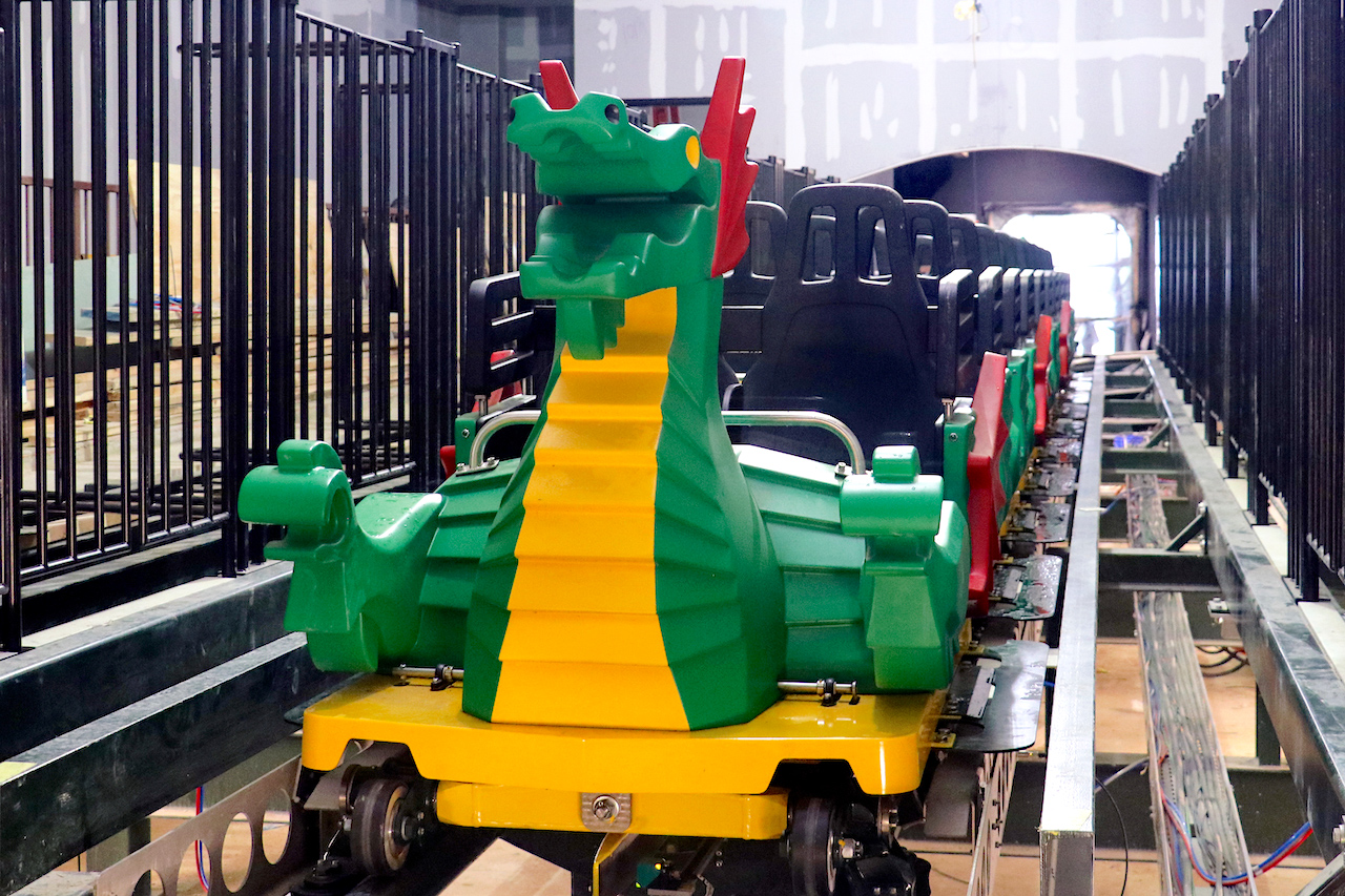 The Dragon coaster train in station