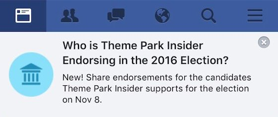 Who is Theme Park Insider endorsing in 2016?