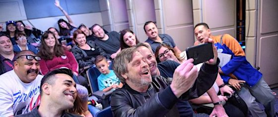 Mark Hamill joins fans for a ride on Disneyland's Star Tours