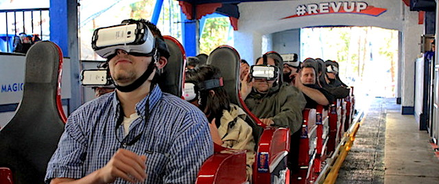 Virtual reality on theme park rides: 2016-2019