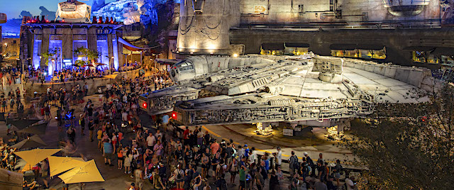 Pre-dawn rush crowds Disney for Star Wars land opening