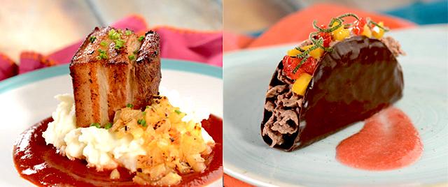 Pork Belly Pastor and Taco de Chocolate
