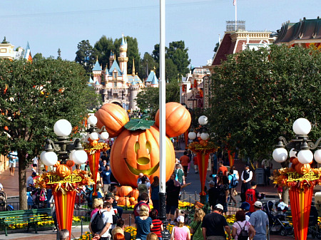 Main Street Street U.S.A. at Disneyland during Halloween