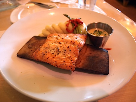 Cedar-planked salmon at Universal's Mythos Restaurtant