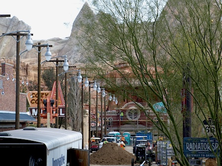 Main street of Cars Land, under construction