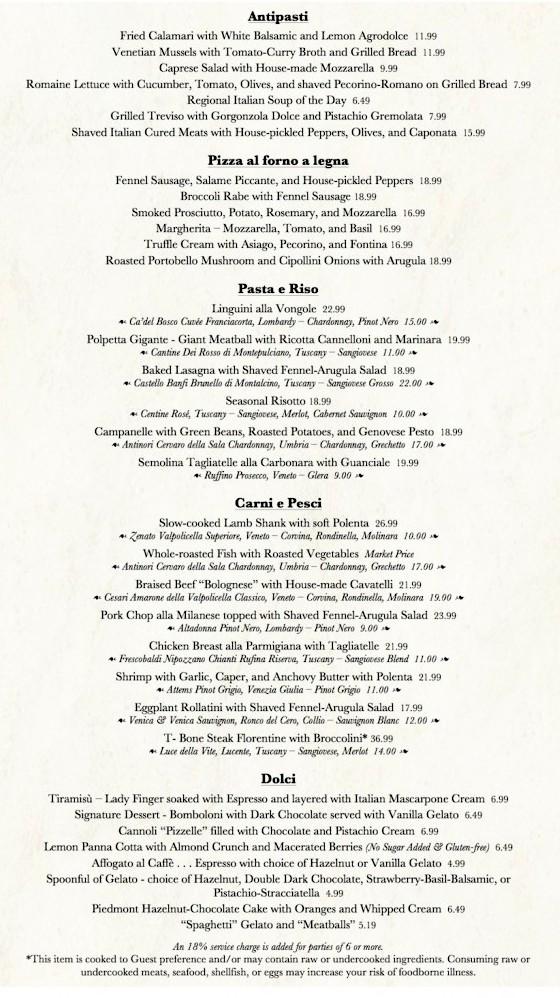 Trattoria al Forno menu
