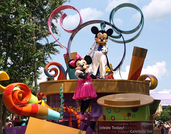 Mickey and Minnie in the Celebrate Parade