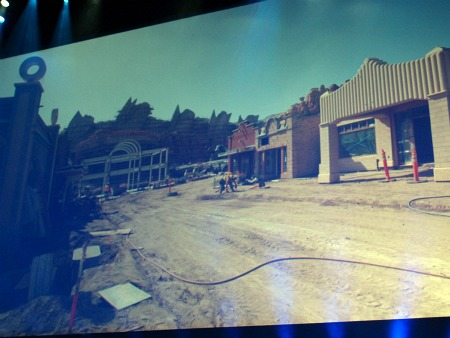 Construction photo of Cars Land, from D23