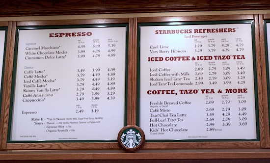 Starbucks menu at Disney California Adventure
