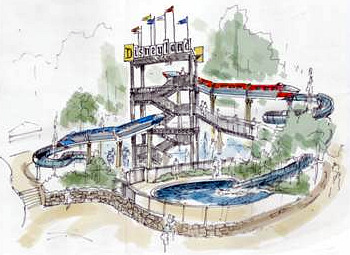 Concept art for Disneyland Hotel water slides
