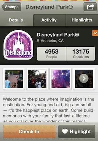 Disneyland Gowalla page