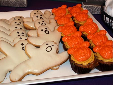 Ghost cookies and Mickey pumpkin cupcakes