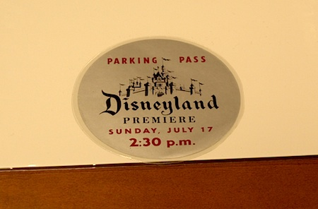 Press parking pass to Disneyland's opening day