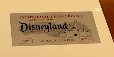Press preview ticket to Disneyland