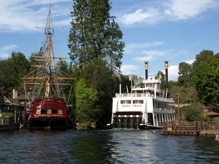 The Sailing Ship Columbia, the Mark Twain and a Tom Sawyer Island raft, at Disneyland