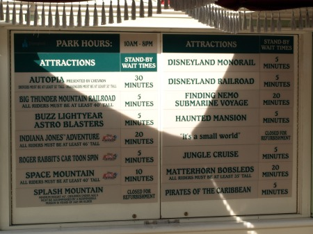Disneyland wait times on Jan. 26, 2011