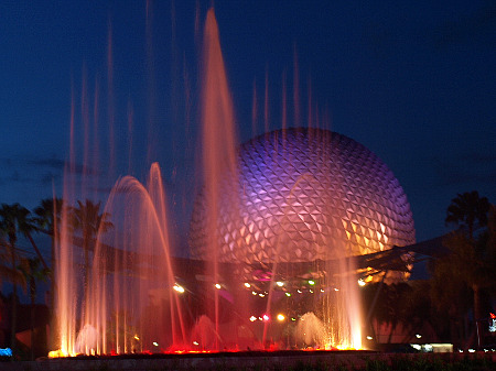 Spaceship Earth and the fountains at night
