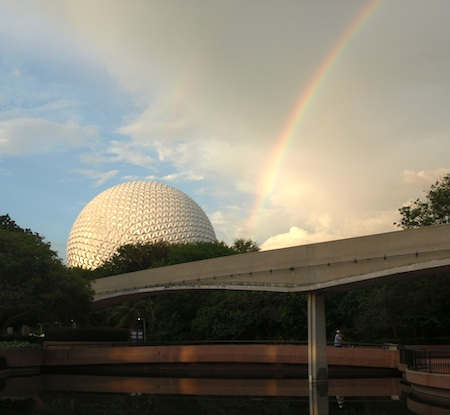 Epcot's Spaceship Earth, with rainbow