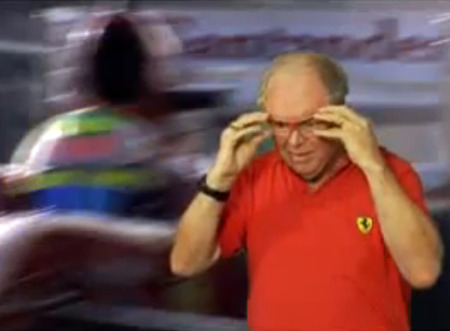 Wayne Meadows demonstrates the Formula Rossa roller coaster goggles