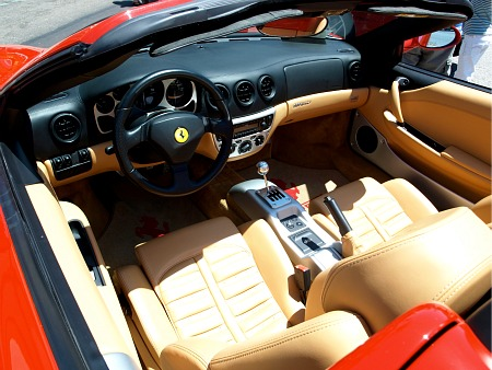 Inside the driver's seat of a Ferrari