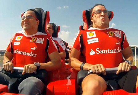 Felipe Massa and Fernando Alonso riding the Formula Rossa roller coaster at Ferrari World Abu Dhabi