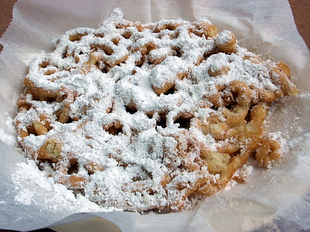 Funnel cake, with powdered sugar