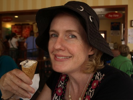 Laurie with a cone of Graeter's ice crierm