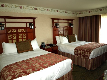 Guest room at the Grand Californian Hotel