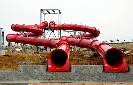 Legoland water slide, under construction