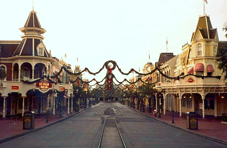 Main Street USA at Walt Disney World, Christmas 1982