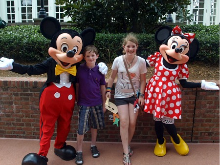 Mickey and Minnie Mouse, with the TPI kids
